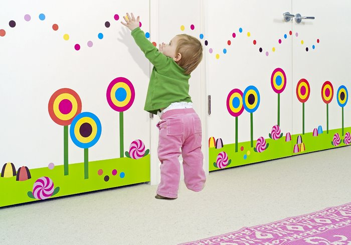 ... kids room are decorated with flowers and garden painting wallpaper