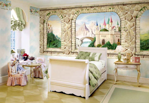 princes girls room are decorated with beautiful wall of painting