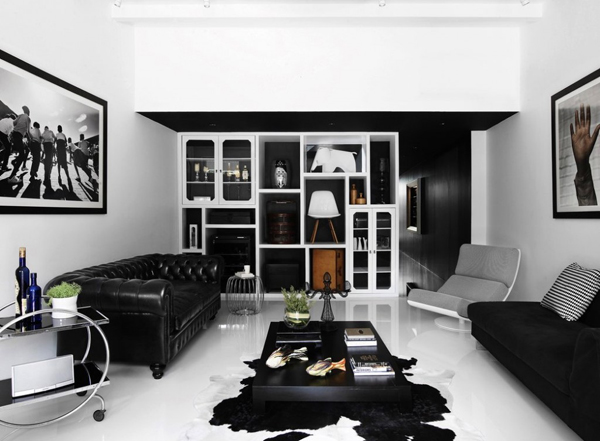 Modern and black shop house interior design in singapore Black and white room decor