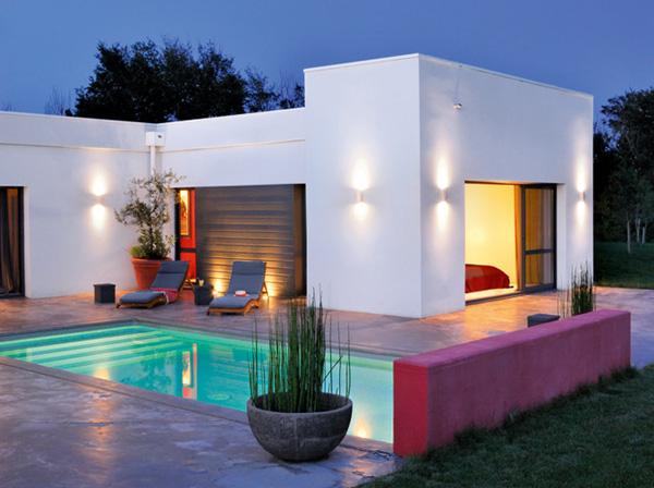 The Red Bright Color Modern House Design In France