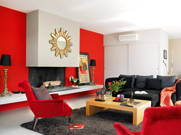 The red bright color modern house design in france freshnist - Deco salon gris et rouge ...