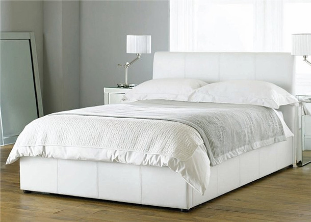 Beautiful white color leather beds by time4sleep freshnist for White bed designs