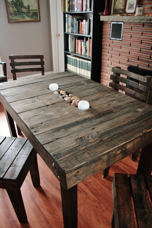 17 diy plans decorating your food area on pallet dining table freshnist - Wood kitchen table plans ...