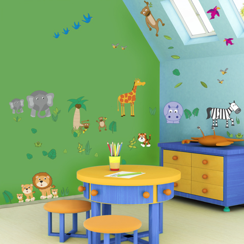 Kids Bedroom Design Ideas on Decorated The Kids Room Wall With Garden Cartoon Animals Paint Or