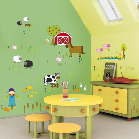 decor the kids room wall with garden cartoon animals paint or