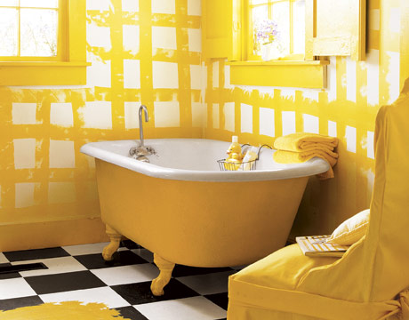 25 cool yellow bathroom design ideas freshnist for Yellow and black bathroom ideas