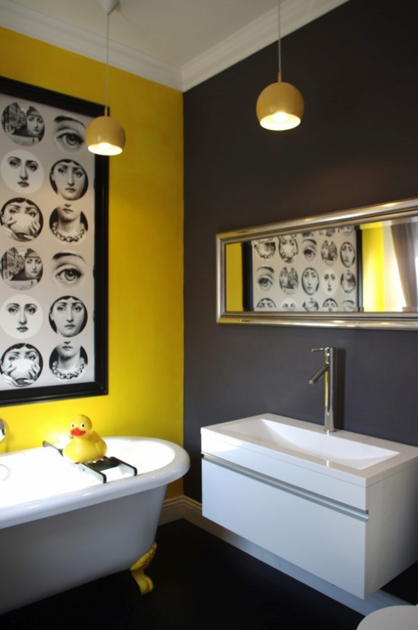 25 cool yellow bathroom design ideas freshnist for Cool bathroom decor
