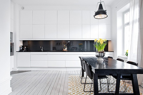 White and Black Apartment Interior Design