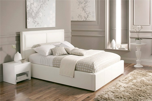 Beautiful white color leather beds by time4sleep freshnist - White bed design ideas ...